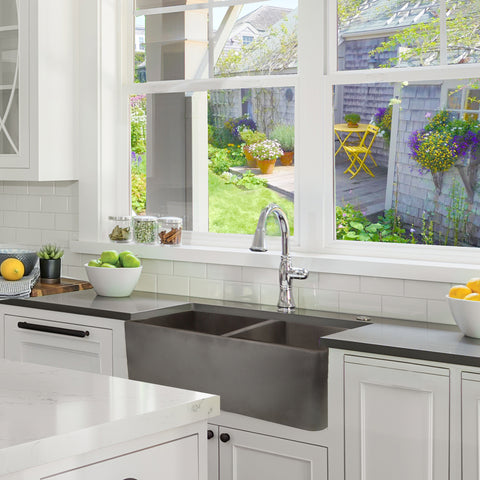 "Nantucket Sinks Vineyard 33"" Fireclay Farmhouse Sink, Double Bowl, White, FCFS3318D-Concrete"