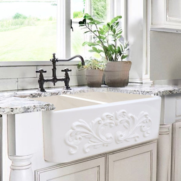"Nantucket Sinks Vineyard 33"" Fireclay Farmhouse Sink, Double Bowl, White, FCFS3318D-Filigree"