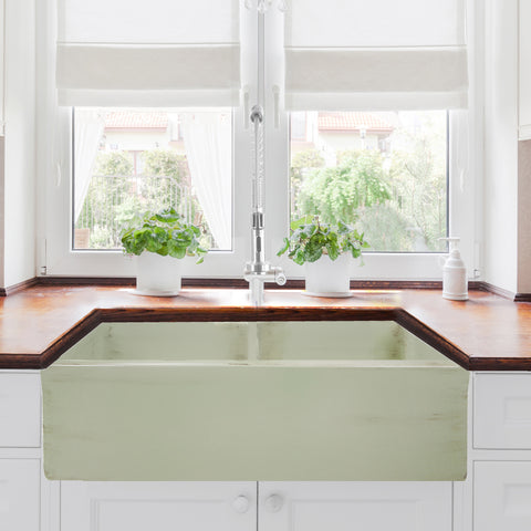 "Nantucket Sinks Vineyard 33"" Fireclay Farmhouse Sink, Double Bowl, Light Green, FCFS3318D-ShabbyGreen"