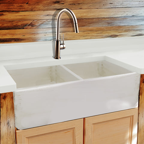"Nantucket Sinks Vineyard 33"" Fireclay Farmhouse Sink, Double Bowl, Pale Yellow, FCFS3318D-ShabbyStraw"