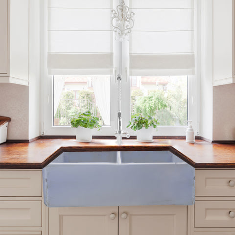 "Nantucket Sinks Vineyard 33"" Fireclay Farmhouse Sink, Double Bowl, Light Blue, FCFS3318D-ShabbySugar"