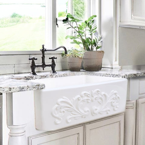 "Nantucket Sinks Vineyard 33"" Fireclay Farmhouse Sink, White, FCFS3320S-Filigree"