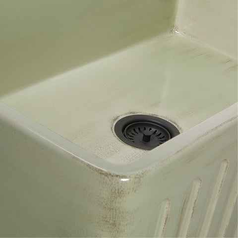 "Nantucket Sinks Vineyard 33"" Fireclay Farmhouse Sink, Light Green, FCFS3320S-ShabbyGreen"