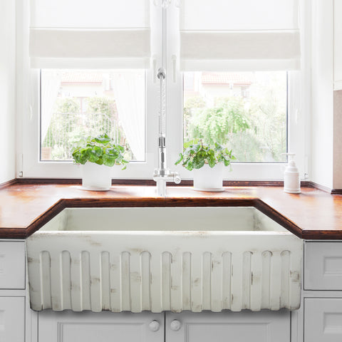 "Nantucket Sinks Vineyard 33"" Fireclay Farmhouse Sink, Pale Yellow, FCFS3320S-ShabbyStraw"