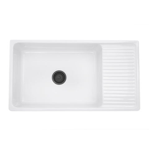 "Nantucket Sinks Cape 36"" Fireclay Farmhouse Sink, White, FCFS36-DB"
