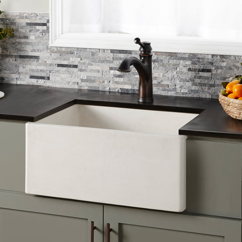 "Native Trails 24"" Nativestone Concrete Farmhouse Sink, Pearl, NSK2418-P"
