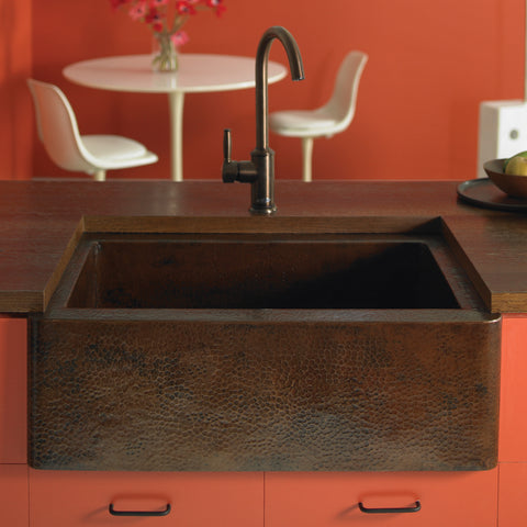 "Native Trails 25"" Copper Farmhouse Sink, Antique Copper, CPK270"