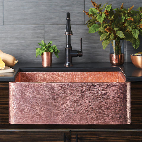 "Native Trails 30"" Copper Farmhouse Sink, Polished Copper, CPK494"