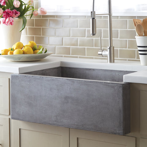 "Native Trails 30"" Nativestone Concrete Farmhouse Sink, Ash, NSK3018-A"