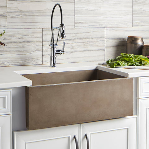 "Native Trails 30"" Nativestone Concrete Farmhouse Sink, Earth, NSK3018-E"