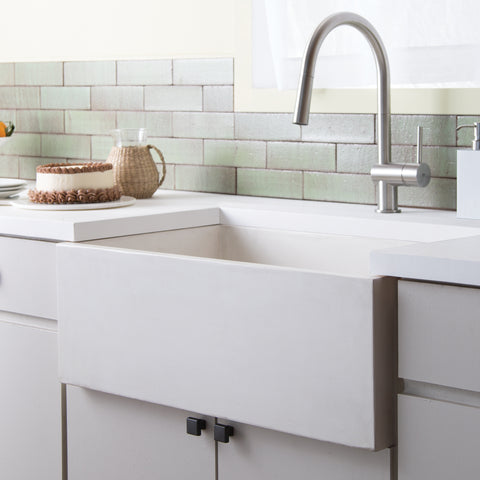 "Native Trails 30"" Nativestone Concrete Farmhouse Sink, Pearl, NSK3018-P"