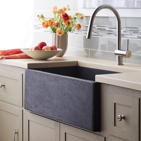 "Native Trails 30"" Nativestone Concrete Farmhouse Sink, Slate, NSK3018-S"