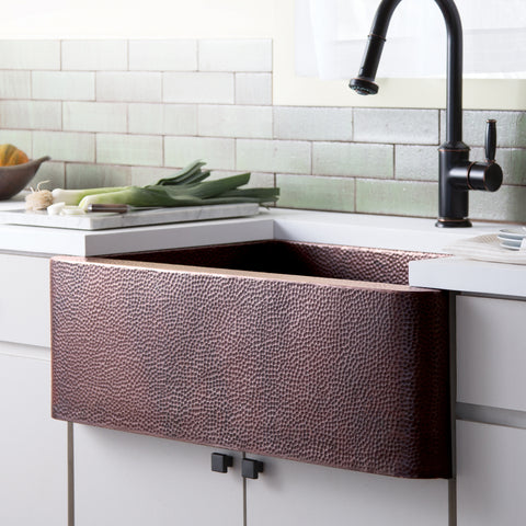 "Native Trails 33"" Copper Farmhouse Sink, Antique Copper, CPK273"