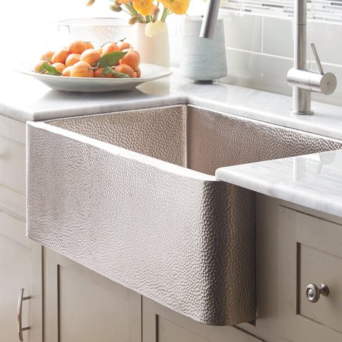 "Native Trails 33"" Nickel Farmhouse Sink, Brushed Nickel, CPK573"