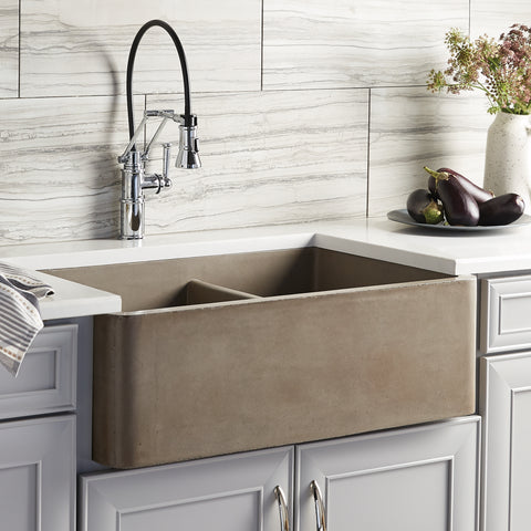"Native Trails Farmhouse Double Bowl 33"" Nativestone Concrete Farmhouse Sink, 60/40 Double Bowl, Earth, NSKD3321-E"