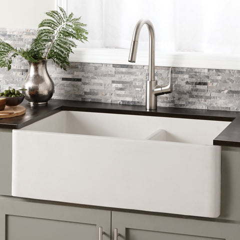 "Native Trails Farmhouse Double Bowl 33"" Nativestone Concrete Farmhouse Sink, 60/40 Double Bowl, Pearl, NSKD3321-P"