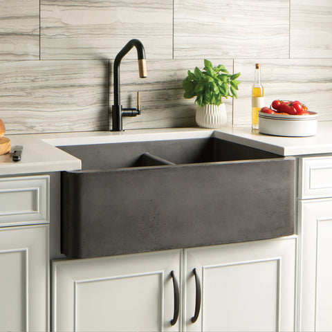 "Native Trails Farmhouse Double Bowl 33"" Nativestone Concrete Farmhouse Sink, 60/40 Double Bowl, Slate, NSKD3321-S"