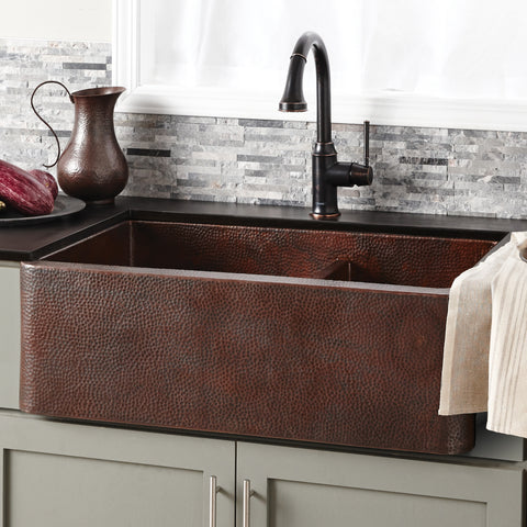 "Native Trails Farmhouse Duet 33"" Copper Farmhouse Sink, 60/40 Double Bowl, Antique Copper, CPK276"