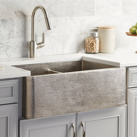 "Native Trails Farmhouse Duet 33"" Nickel Farmhouse Sink, 60/40 Double Bowl, Brushed Nickel, CPK576"