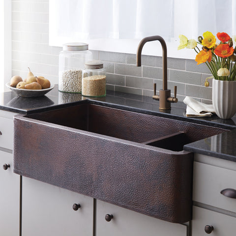 "Native Trails Cocina Duet 33"" Copper Kitchen Sink, 60/40 Double Bowl, Antique Copper, CPK275"