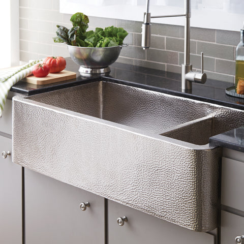 "Native Trails Farmhouse Duet Pro 40"" Nickel Farmhouse Sink, 70/30 Double Bowl, Brushed Nickel, CPK574"