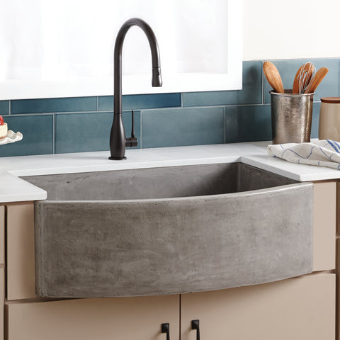 "Native Trails Farmhouse Quartet 33"" Nativestone Concrete Farmhouse Sink, Ash, NSKQ3320-A"