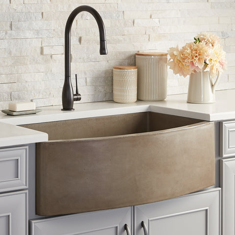 "Native Trails Farmhouse Quartet 33"" Nativestone Concrete Farmhouse Sink, Earth, NSKQ3320-E"
