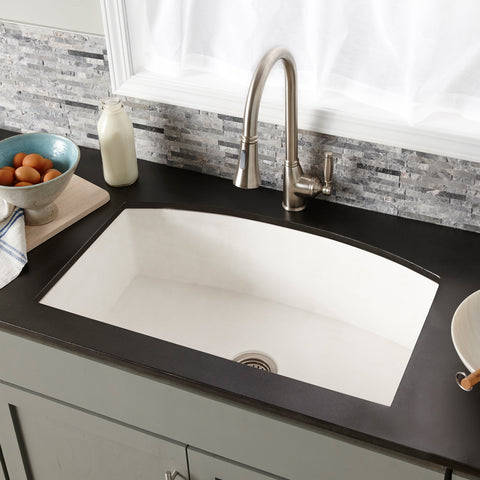 "Native Trails Farmhouse Quartet 33"" Nativestone Concrete Farmhouse Sink, Pearl, NSKQ3320-P"