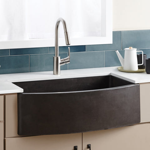 "Native Trails Farmhouse Quartet 33"" Nativestone Concrete Farmhouse Sink, Slate, NSKQ3320-S"