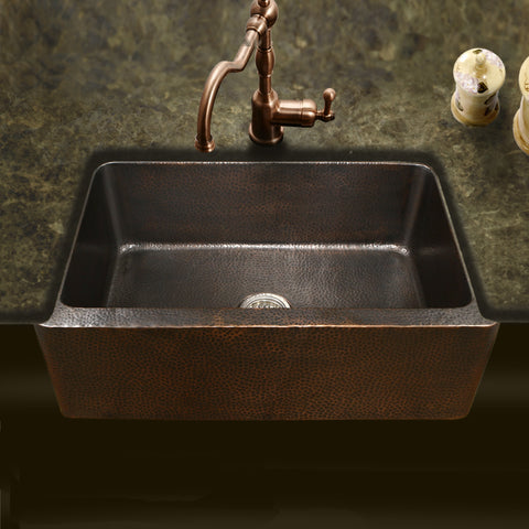 "Houzer 32"" Copper Single Bowl Farmhouse Apron Front Kitchen Sink, HW-COP11 - The Sink Boutique"