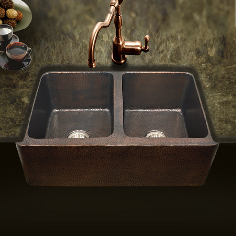 "Houzer 34"" Copper Double Bowl Farmhouse Apron Front Kitchen Sink, HW-COP12 - The Sink Boutique"