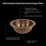 "Houzer 15"" Copper Flat Lip Bathroom Sink, HW-FAM1RF - The Sink Boutique"