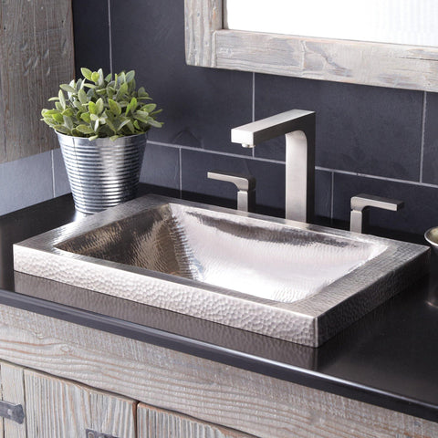 "Native Trails Hana 20"" Rectangle Nickel Bathroom Sink, Brushed Nickel, CPS542"
