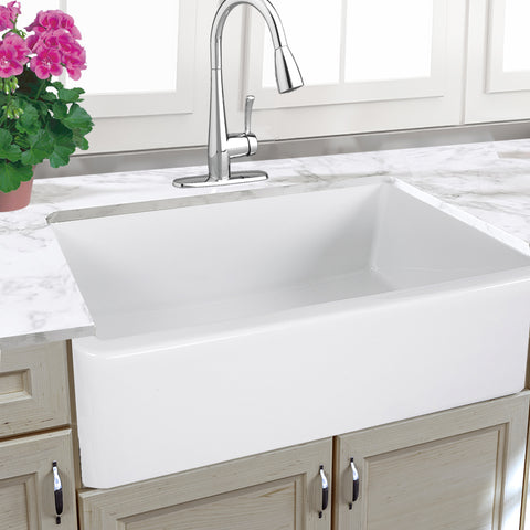 "Nantucket Sinks Cape 33"" Fireclay Farmhouse Sink, White, Harwich-33"