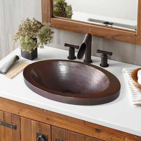 "Native Trails Hibiscus 21"" Rectangle Copper Bathroom Sink, Antique Copper, CPS243"