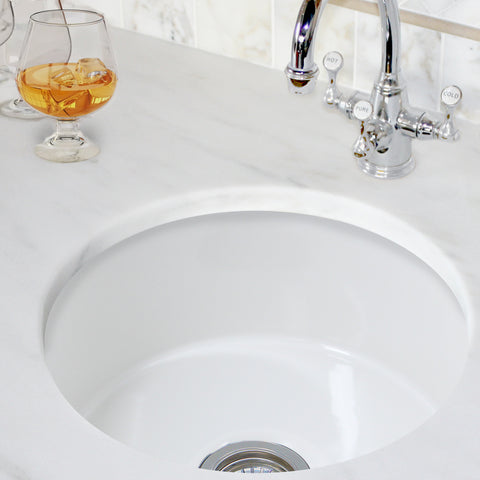 "Nantucket Sinks Cape 18"" Fireclay Kitchen Sink, White, Hyannis-18"