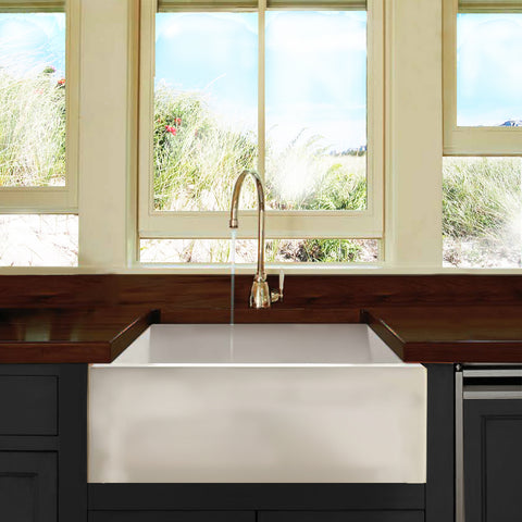 "Nantucket Sinks Cape 24"" Fireclay Farmhouse Sink, White, Hyannis-24"