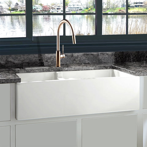 "Nantucket Sinks Cape 36"" Fireclay Farmhouse Sink, 60/40 Double Bowl, White, Hyannis-36-DBL"