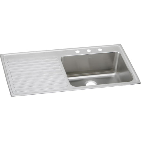 "Elkay Lustertone Classic 43"" Stainless Steel Kitchen Sink, Lustrous Satin, ILGR4322R3"