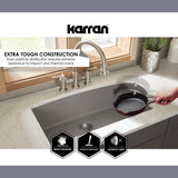 "Karran 34"" Quartz Kitchen Sink, 60/40 Double Bowl, Black, QU-721-BL"