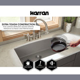 "Karran 34"" Quartz Kitchen Sink, 50/50 Double Bowl, Black, QU-720-BL"