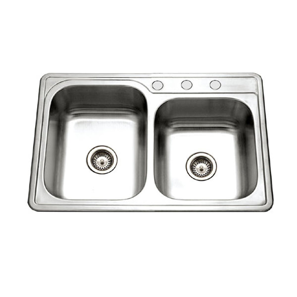 "Houzer 33"" Stainless Steel Topmount 60/40 Double Bowl Kitchen Sink, ISL-3322BS3-1"