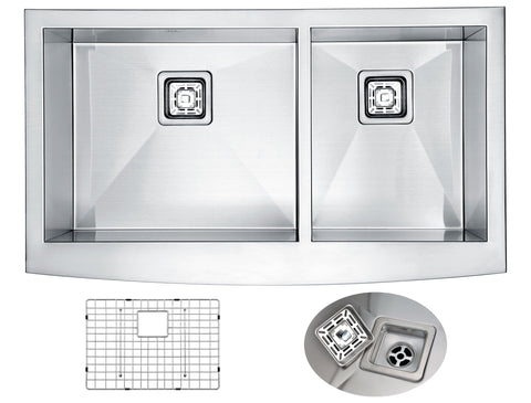 ANZZI Elysian Farmhouse Stainless Steel 33 in. 0-Hole 60/40 Double Bowl Kitchen Sink in Brushed Satin K-AZ3320-4AS