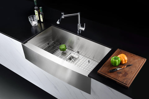 ANZZI Elysian Farmhouse Stainless Steel 36 in. Single Bowl Kitchen Sink in Brushed Satin K-AZ3620-1AS Lifestyle