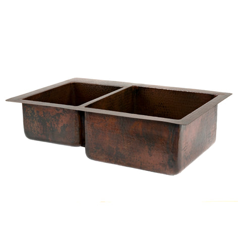 "Premier Copper Products 33"" Copper Kitchen Sink, 40/60 Double Bowl, Oil Rubbed Bronze, K40DB33229"