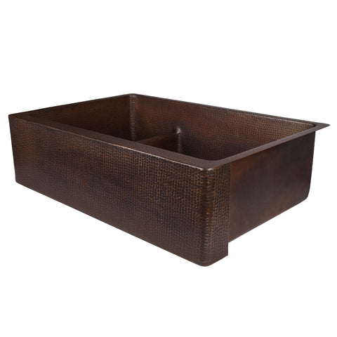 "Premier Copper Products 33"" Copper Farmhouse Sink, 30/70 Double Bowl, Oil Rubbed Bronze, KA30DB33229-SD5"