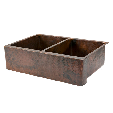 "Premier Copper Products 33"" Copper Farmhouse Sink, 50/50 Double Bowl, Oil Rubbed Bronze, KA50DB33229"