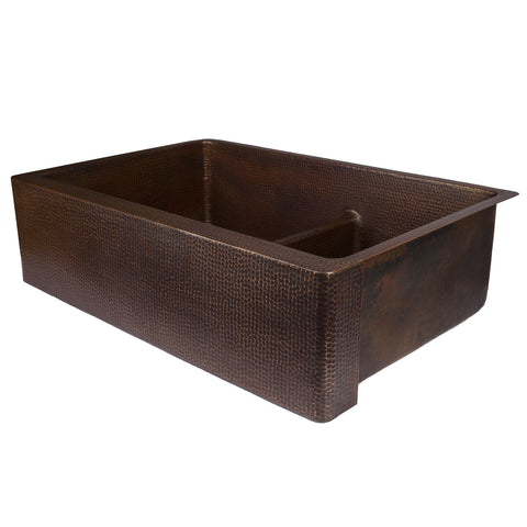 "Premier Copper Products 33"" Copper Farmhouse Sink, 60/40 Double Bowl, Oil Rubbed Bronze, KA60DB33229-SD5"