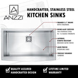 "ANZZI Elysian 33"" Stainless Steel 60/40 Double Bowl Farmhouse Apron Sink with Faucet KAZ33204AS - The Sink Boutique"