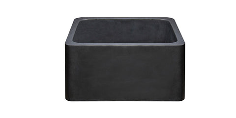 "Black Basalt 17"" Stone Farmhouse Kitchen Sink, KF171710-BB"